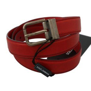 Dolce&Gabbana D60357-1 Red Leather Buckle Belt
